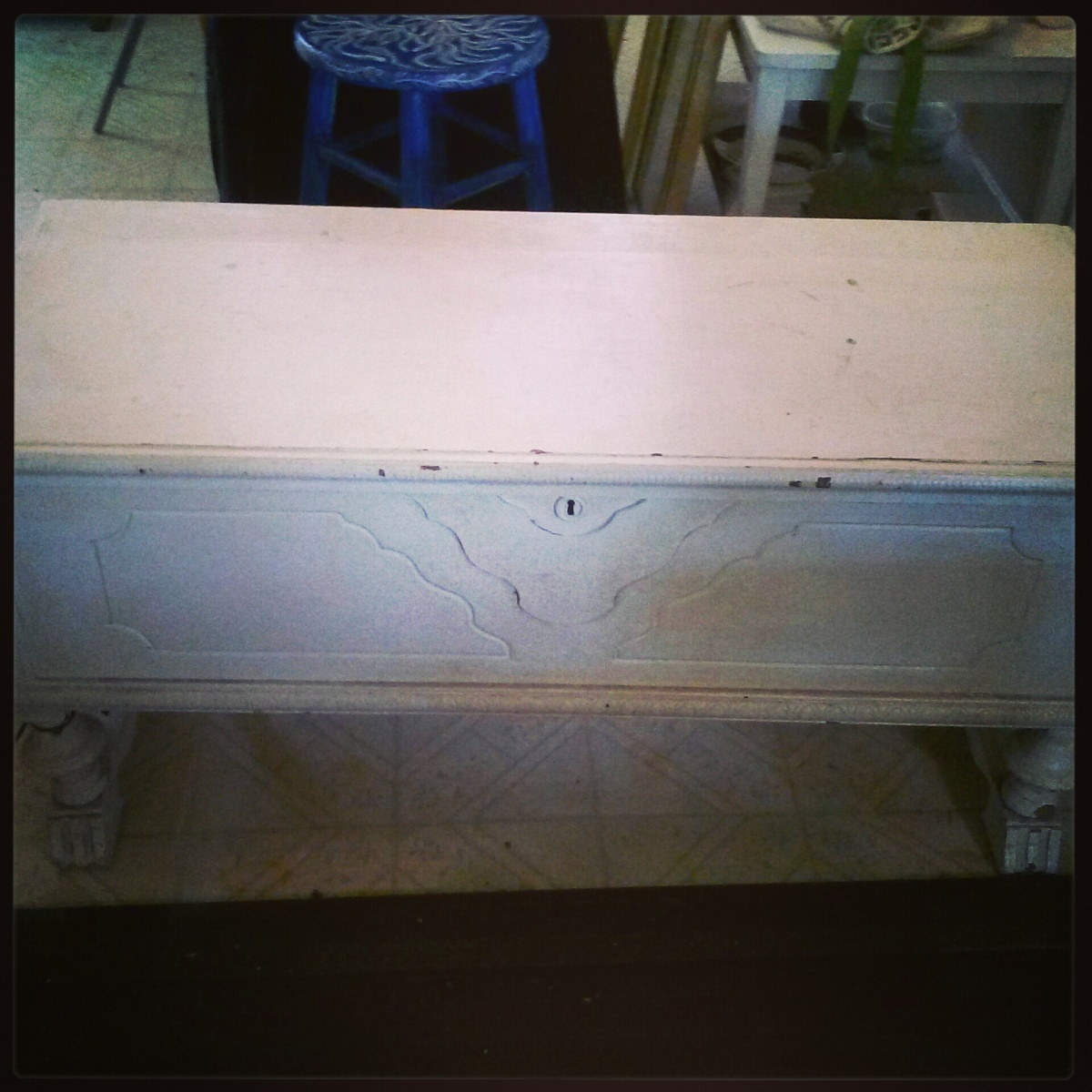 A much painted cedar cabinet dying to be refinished