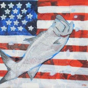 "American Tarpon: Mixed Media Acrylic on canvas 12"" x 12"""