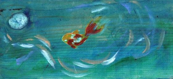 "Fish with Moon Acrylic on wood 1"" x 4.5 """