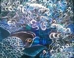 "Koi Begins His Journey Acrylic and mixed media on masonite 18"" x 22.5"""