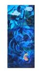 "Goldfish's Journey 1 Acrylic and mixed media on wood 114"" x 27"" framed"