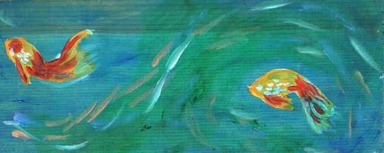 "Two Fish Acrylic on wood 5"" x 3.5"""
