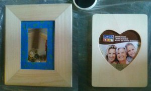 The raw wood mirror and picture frame from Michaels