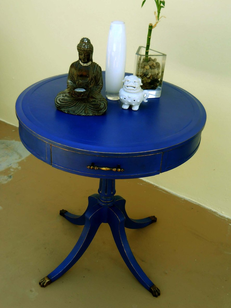 Round Blue Table