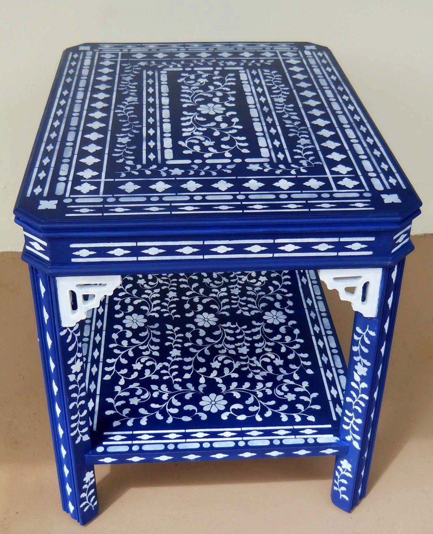 The Blue Stenciled table