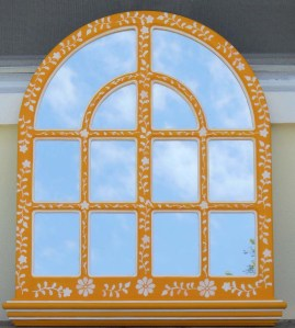Yellow Stenciled Mirror