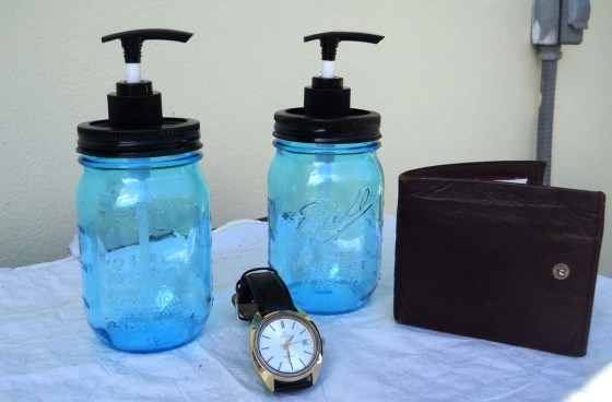 Sophisticated Blue and black Mason jar perfect for the guys
