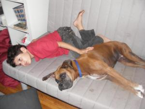 My son Jordan and my Dancing dog Milu