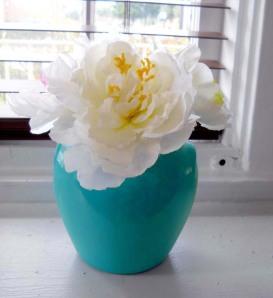 Turquoise Handled jar turned vase