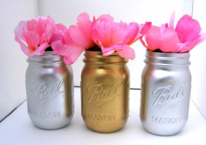 Silver and Gold Metallic Mason JarsSilver and Gold Metallic Mason Jars