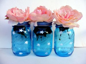 Blue Mason Jars with stars